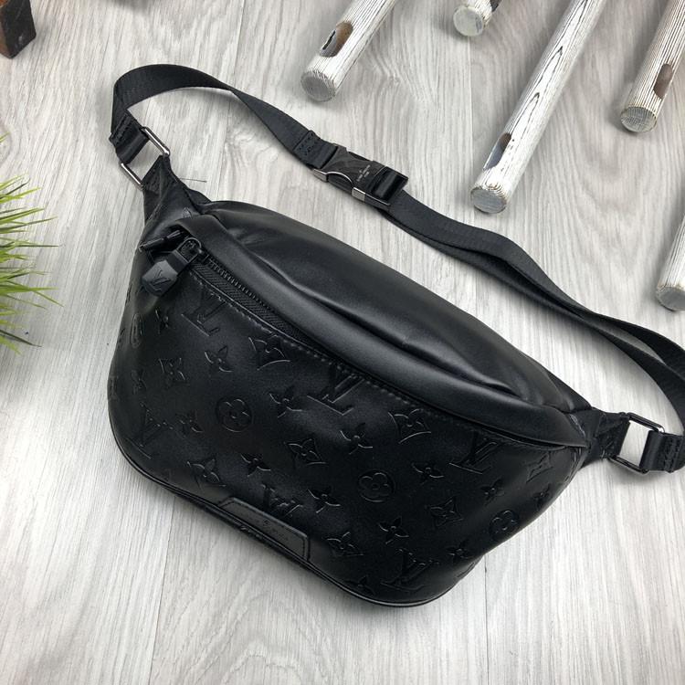 Шкіряна чоловіча сумка бананка Louis Vuitton чорна Натуральна шкіра сумка на пояс VIP Луї Віттон репліка