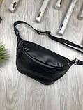 Шкіряна чоловіча сумка бананка Louis Vuitton чорна Натуральна шкіра сумка на пояс VIP Луї Віттон репліка, фото 10