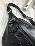 Шкіряна чоловіча сумка бананка Louis Vuitton чорна Натуральна шкіра сумка на пояс VIP Луї Віттон репліка, фото 6