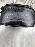 Шкіряна чоловіча сумка бананка Louis Vuitton чорна Натуральна шкіра сумка на пояс VIP Луї Віттон репліка, фото 3
