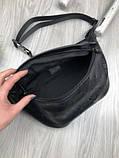Шкіряна чоловіча сумка бананка Louis Vuitton чорна Натуральна шкіра сумка на пояс VIP Луї Віттон репліка, фото 7