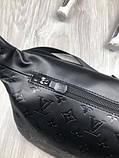 Шкіряна чоловіча сумка бананка Louis Vuitton чорна Натуральна шкіра сумка на пояс VIP Луї Віттон репліка, фото 9