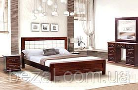 Кровать деревянная двуспальная с мягким изголовьем Милена - М