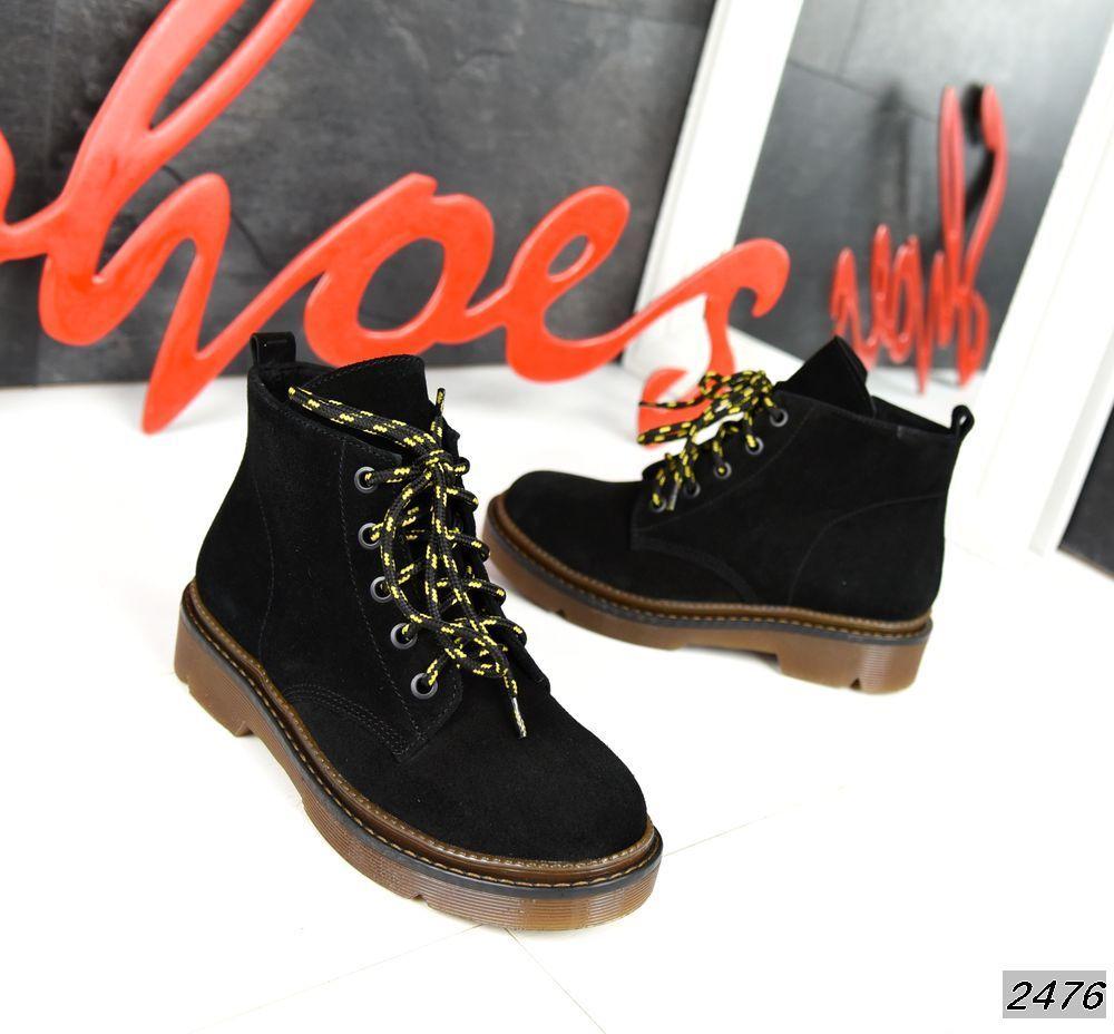 Замшеві черевики на низькому ходу 36,38 р чорний