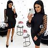 Сукня жіноча з рукавами із сітки в горох (3 кольори) АА/-1318 - Чорний
