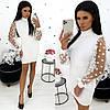 Платье женское с рукавами из сетки в горох (3 цвета) АА/-1318 - Белый