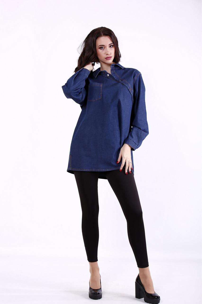 Темно-синяя джинсовая рубашка женская большого размера 42-74. J01385-1