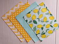 Набор ткани Лимоны и мята  - 4 отреза 40*50 см