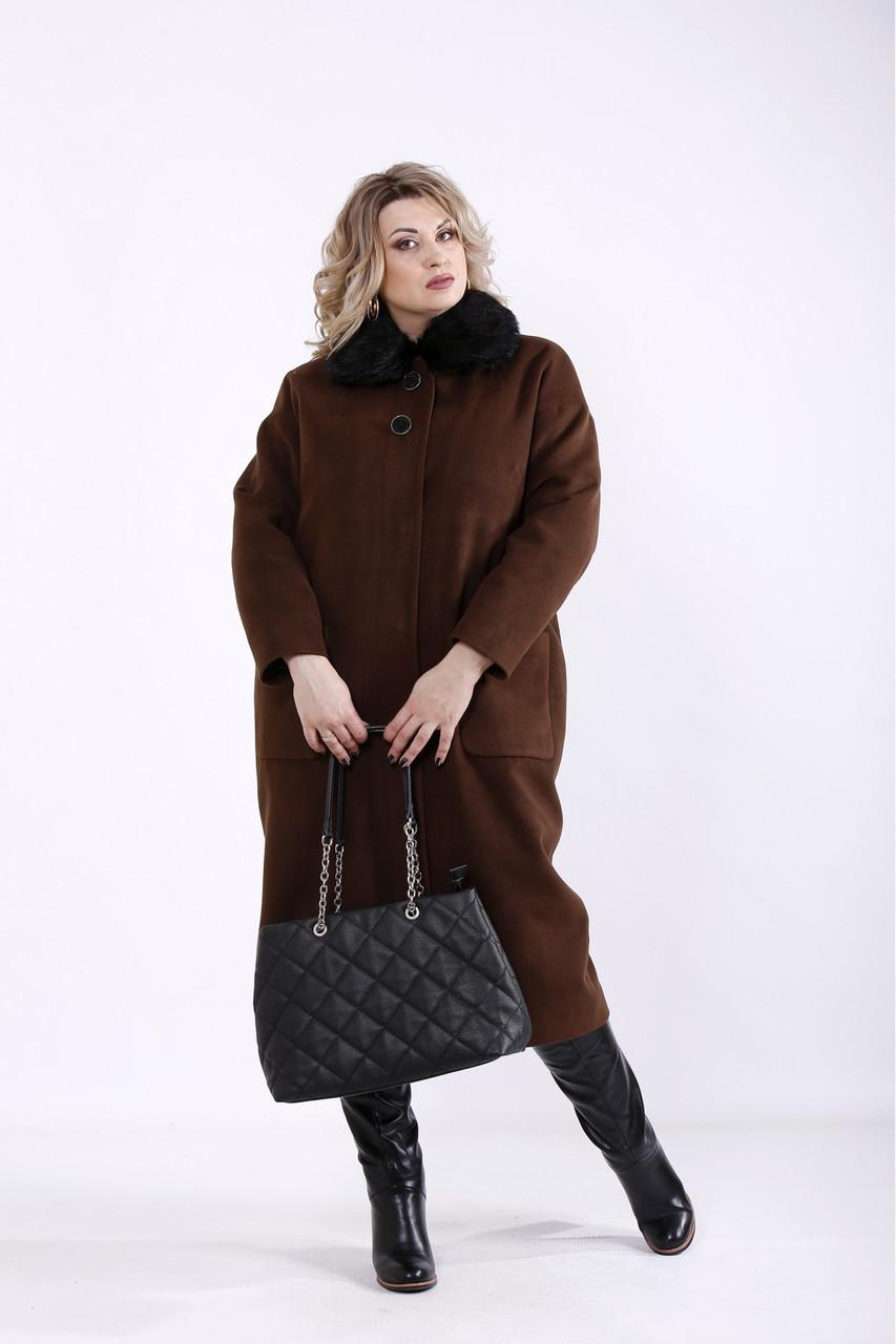 Коричневое пальто из кашемира женское стильное большого размера (разные версии) 42-74. T01362-3