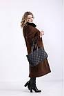 Коричневое пальто из кашемира женское стильное большого размера (разные версии) 42-74. T01362-3, фото 3
