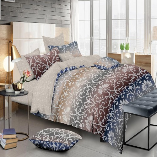 Комплект постельного белья Абстракция Сатин 180х210 двуспальный KWL-1932-A-B