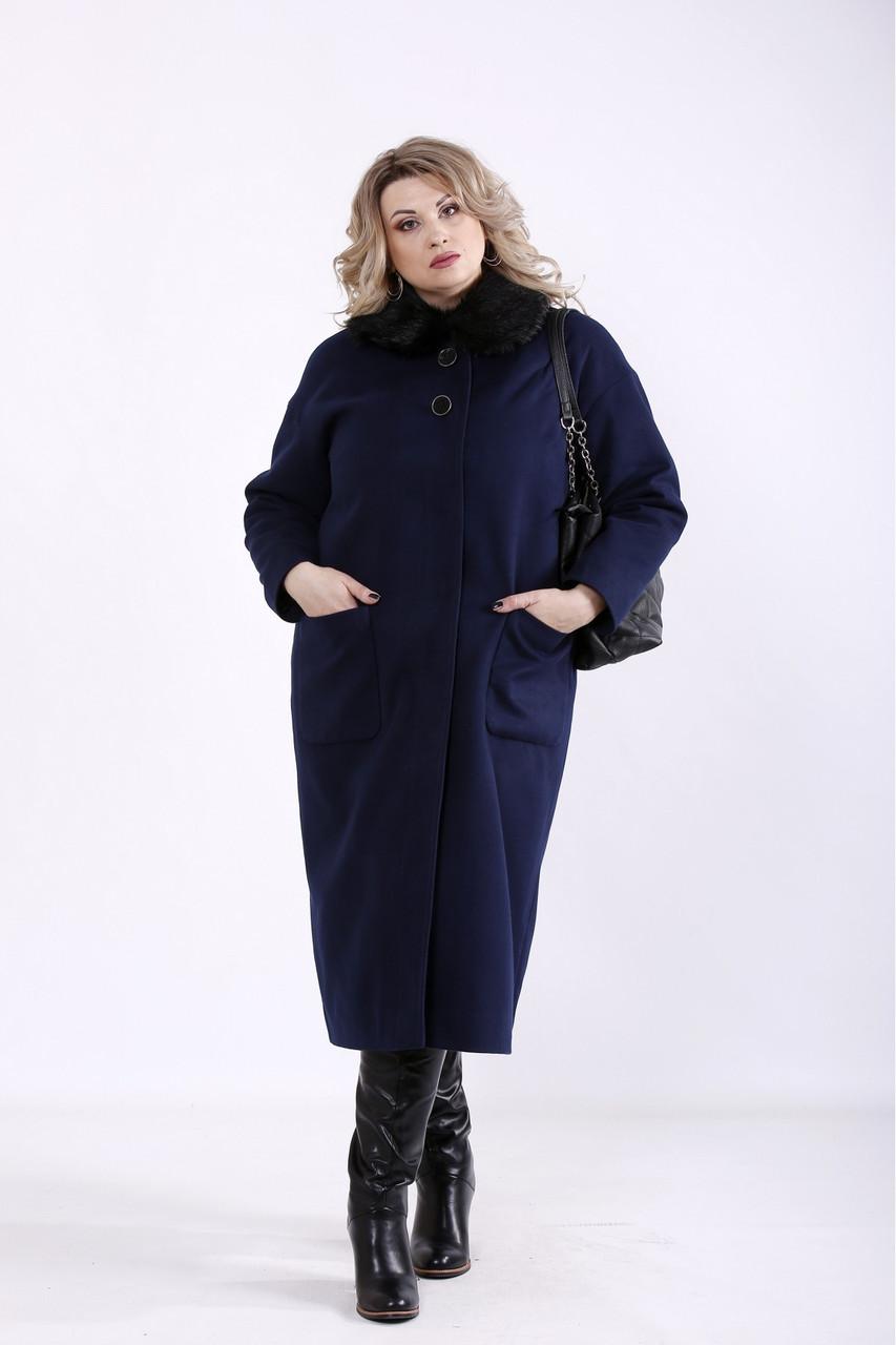 Синее пальто женское прямое из кашемира большого размера (разные версии) 42-74. T01362-2
