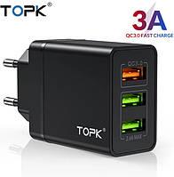 Оригінальний зарядний блок живлення TOPK на 3 USB швидка зарядка Quick Charge 3.0 Чорний