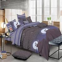 Комплект постельного белья Олень и ночное небо Сатин полуторный 490-SL-A-B