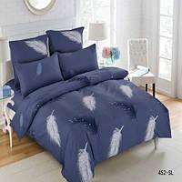 Комплект постельного белья Перья на синем  Сатин полуторный 452-SL-A-B