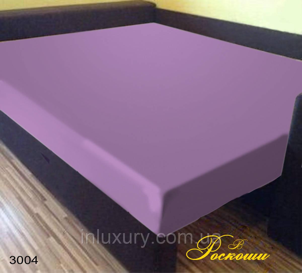 Простынь на резинке Светло фиолетовая 180х190х20