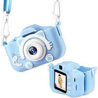 Детский цифровой фотоаппарат 2 камеры Children's fun Camera 20MP Full HD Котик(Голубой)камера для селфи
