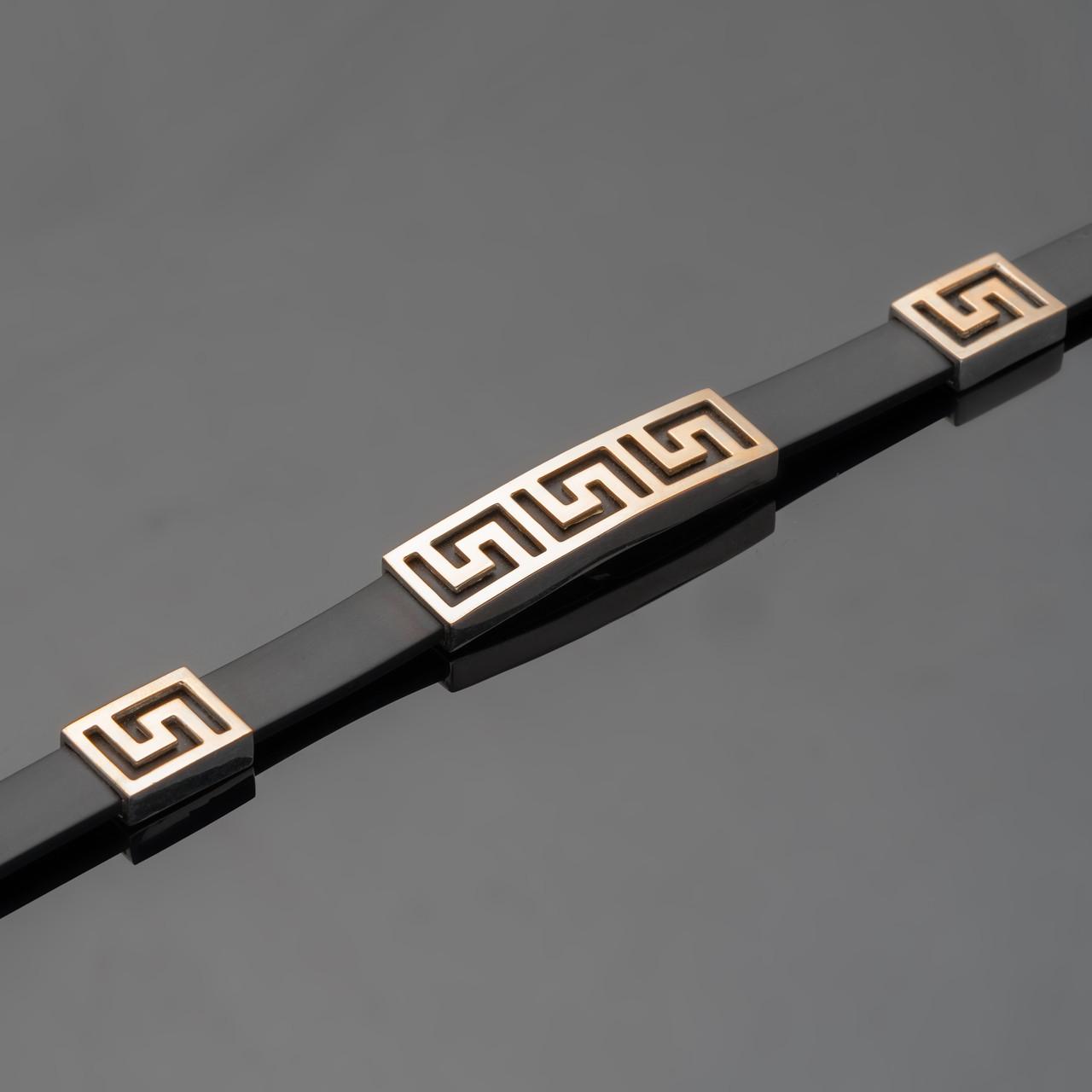 Каучуковий браслет з сріблом т золотом арт. 499б