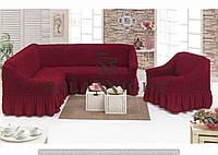 Чехол на угловой диван и одно кресло Бордовый