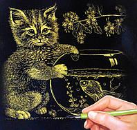Гравюра А4 Кот с рыбкой Золото