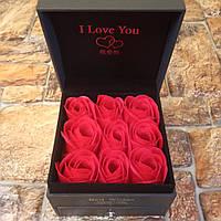 Подарочная коробка с розами из мыла и отделением под украшение Best Wishes (Живые фото!)