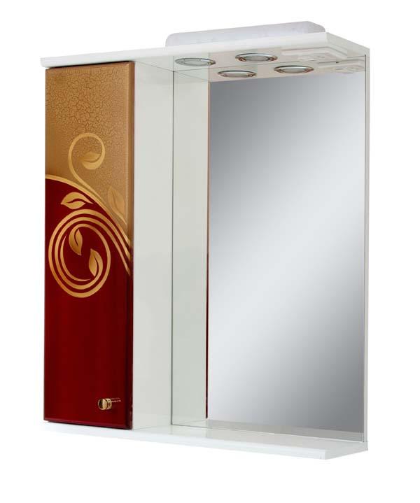 Зеркало для ванной комнаты Аэрография 60-01 левое Скрипулянт + бордо