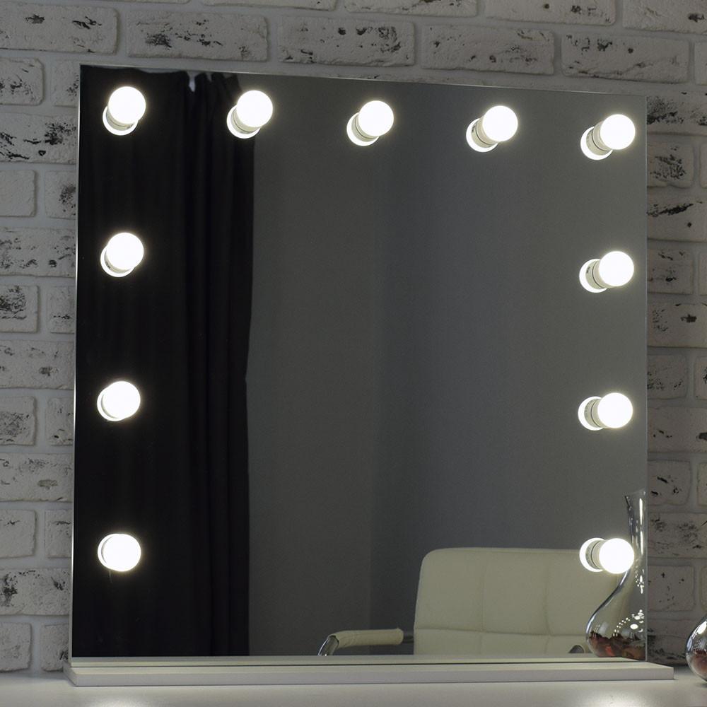 Безрамное гримерное зеркало 80 х 80 ( Безрамочное зеркало с лампами ) ( Макияжное зеркало визажиста)