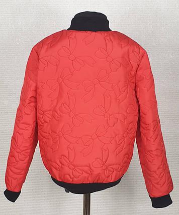 Куртка  стеганная демисезонная Бомбер  для девочки  128,134,140 красный, фото 2
