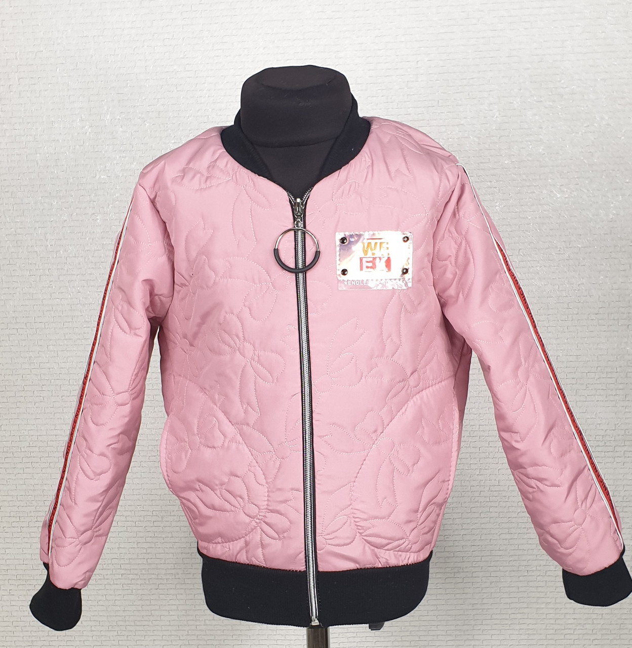 Куртка  стеганная демисезонная Бомбер  для девочки  128,134,140 пудра
