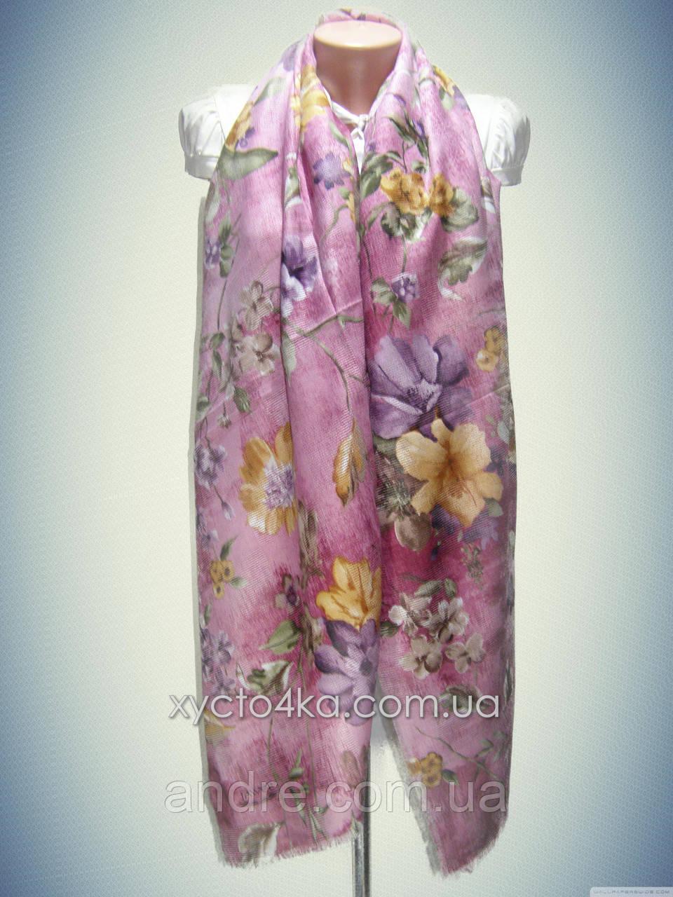 Натуральный шарф с перфорацией Лора, бледно розовый