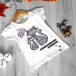 Детская футболка, трикотаж, для девочек  раз. 110-128 см, 5-8 лет (4 ед. в уп) Молоко