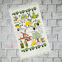 Кухонное полотенце с рисунком Оливки, махровое, 40х60 см