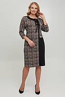 Нарядно-повседневное платье в клетку большого размера Летиция р. 52-62