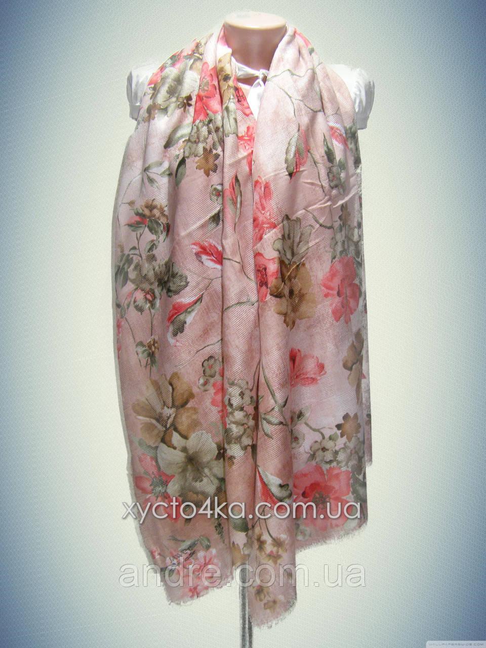 Натуральный шарф с перфорацией Лора, персиковый