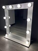 Гримерное зеркало 70 х 80 с лампами с полкой ( Макияжное зеркало визажиста с подсветкой настольное )