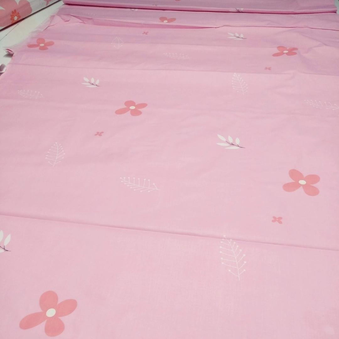 Ткань Бязь Gold Василек на розовом 220