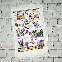Кухонное полотенце с рисунком Лаванда, махровое, 40х60 см
