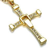 Крест Доминика Торетто с цепочкой, золотистый, фото 1