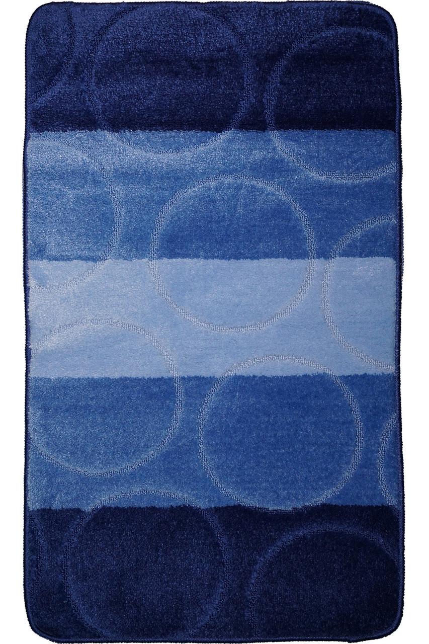 """Набор ковриков для ванной, 60х100 + 60х50см. """"Круги"""", цвет синий"""