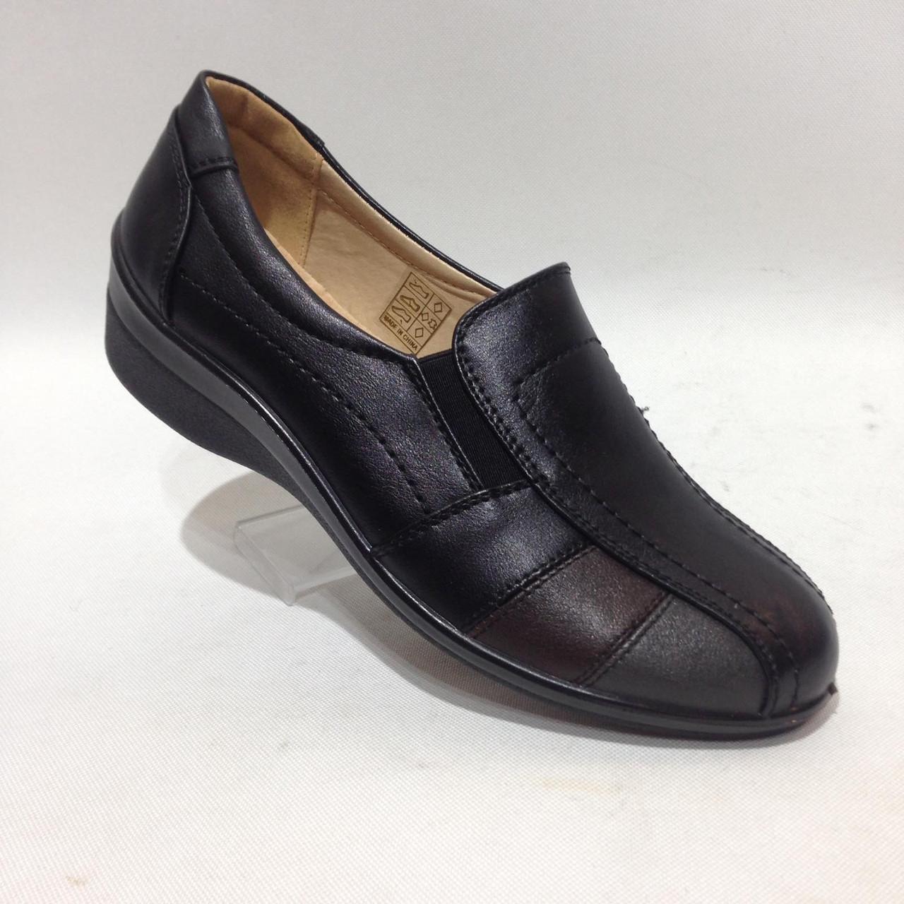 Туфли женские на низком ходу черные красивые модные