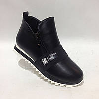 Женские ботинки на низком ходу черные красивые модные, фото 1