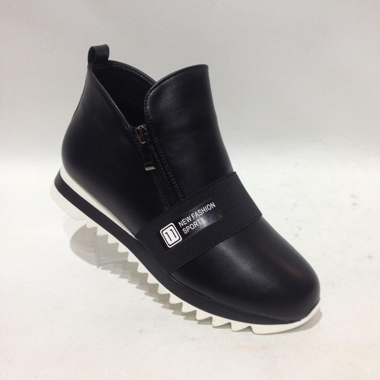 Женские ботинки на низком ходу черные красивые модные
