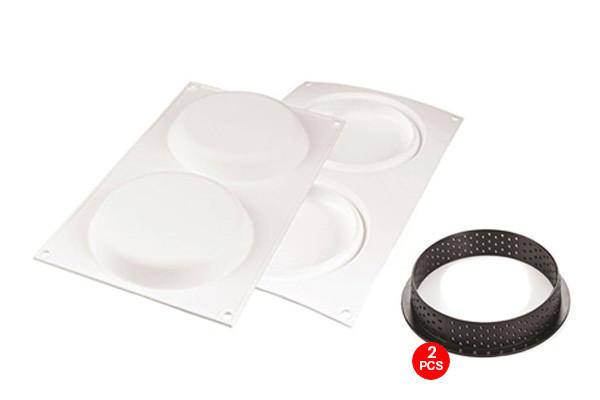 """Форма для тарталеток """"Kit Tarte Ring Round Ø150"""" 37.5х21х1.5см/456мл силиконовая + 2 кольца Silikomart"""