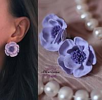 """Фиолетовые серьги с цветами ручной работы """"Лаванда"""", фото 1"""