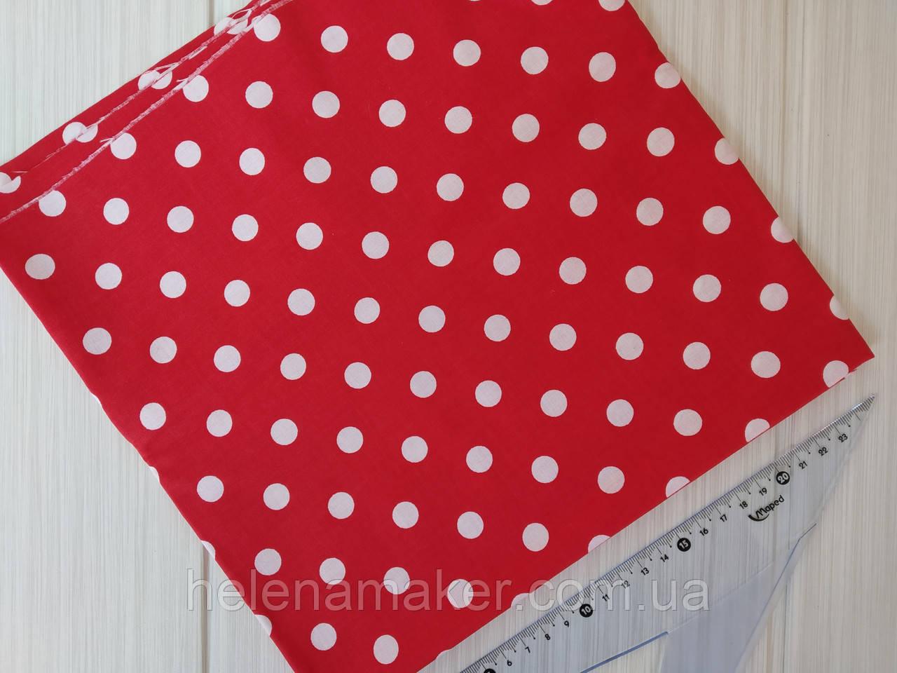 Отрез ткани красный в белый горошек 11 мм. Размер отреза 50*50 см