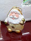Керамічна фігурка, підвіска, 6,5х5,5 см, Дід мороз, Сувеніри, Дніпро, фото 3