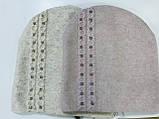 Жіноча шапочка з ангори оздоблена дрібними каменями біла пудра, фото 4