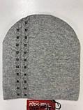 Жіноча шапочка з ангори оздоблена дрібними каменями біла пудра, фото 7