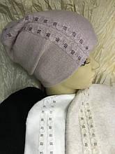 Женская шапочка из ангоры украшенная мелкими камнями белая и пудра