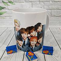 Чашка подарок с фото БТС, принт BTS